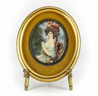 Continental Miniature Hand Painted Woman with Fan Oval Framed Portrait c1920