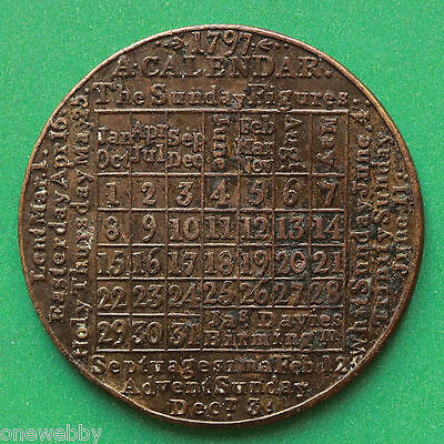 1797 - Calendar medallion 39 mm in copper - SNo40323.