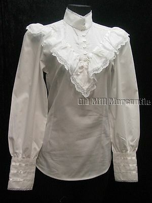 Pioneer Old West Frontier Classics Victorian Clara white Blouse  S-3X free pin