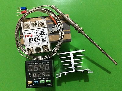 Digital PID Temperature Controller TA4-SNR-24V + K-Type Probe +25A SSR+Heat Sink