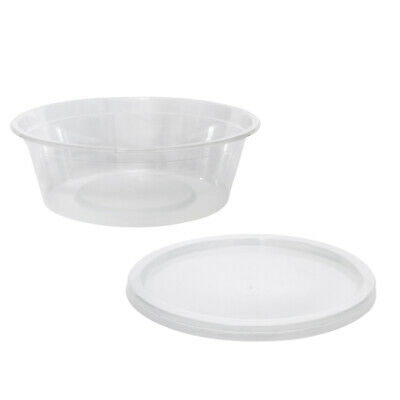 100x Clear Plastic Container w Flat Lid 225mL Round Disposable Yoghurt Dish