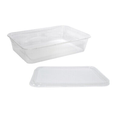50x Clear Plastic Container w Flat Lid 500mL Rectangle Disposable Chinese Dish