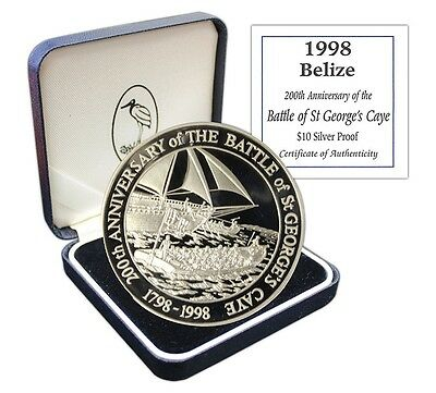 Belize $10 Dollars, 1 oz. Silver Proof Coin, 1998, Mint, KM#131