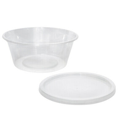 100x Clear Plastic Container with Flat Lid 300mL Round Disposable Rice Dish
