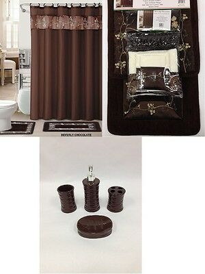 22Pc Bath Accessories ceramic Set Coffee brown bathroom rugs shower curtain-bevr