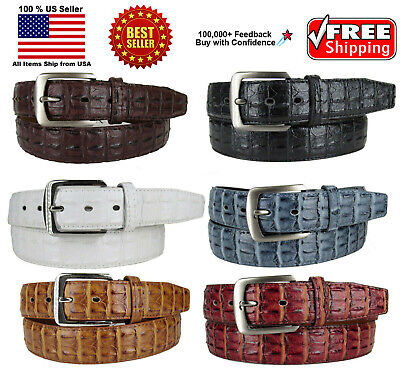 MEN FAUX CROCODILE ALLIGATOR SKIN GENUINE LEATHER STITCHED BELT w BELT BUCKLE