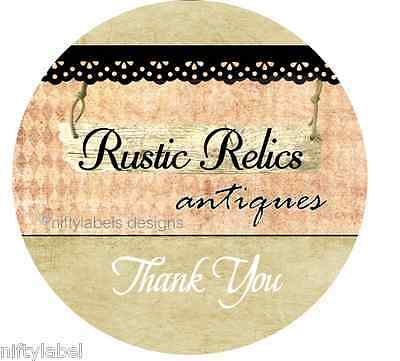 Customized Business Thank You Sticker Labels  - Rustic Relics Print Style #14