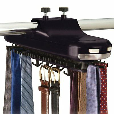 Revolving Motorized Lighted Tie & Belt Rack Hooks Organizer-holds 64 Ties AMH009