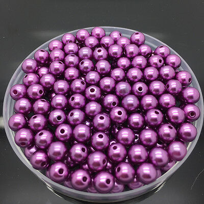 NEW 6mm 100Pcs Purple Acrylic Round Pearl Spacer Loose Beads Jewelry Making