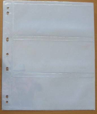 Bank Note Pages - Pack Of 5  Pages -3 Pockets / Page - 7 Holes