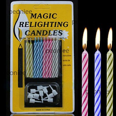 10x Magic tricky relighting candles fun birthday xmas home party w