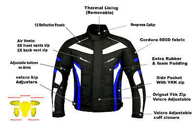 ProFirst Motorbike Waterproof Cordura Jacket Motorcycle Armours Jacket Blue