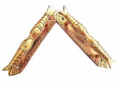 Antique PAIR OF BRASS FISH CABINET PULLS DOOR HANDLES Pull vintage cast