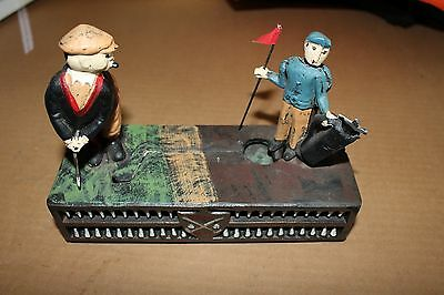 Golfer Birdie Putt Cast Iron Coin Bank Reproduction