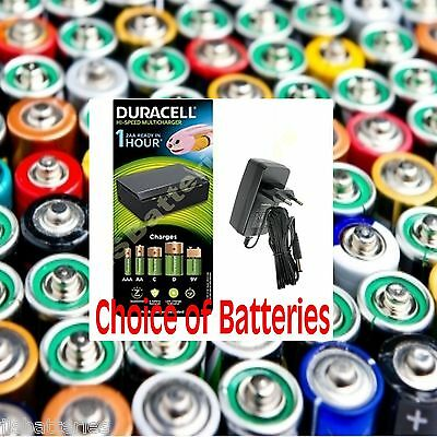 Duracell Fast 1 Hour Universal Battery Charger EU PLUG AAA AA C D & 9V Batteries