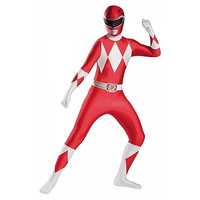 Red Ranger Deluxe Bodysuit Costume Power Rangers Halloween Fancy Dress