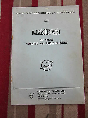 Vintage Lemken 'rl' Series Mounted Reversible Plough Operating Inst & Parts List