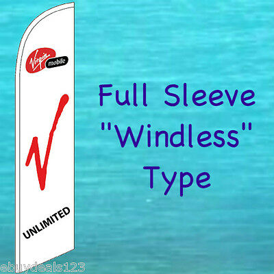 VIRGIN MOBILE WINDLESS FEATHER FLAG Tall Cell Phone Swooper Flutter Banner 2167