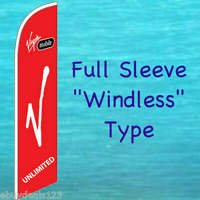 VIRGIN MOBILE RED WINDLESS FEATHER FLAG Cell Phone Swooper Flutter Banner 2165