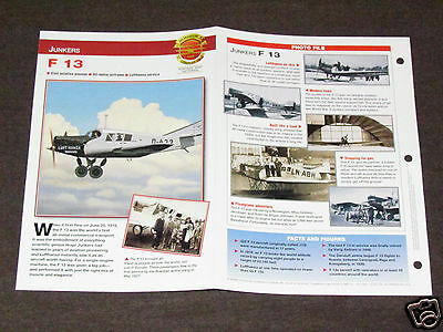 JUNKERS F 13 F13 Airplane Photo Spec Sheet Booklet Brochure