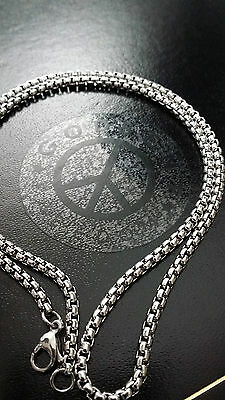"""New 20"""" - 30""""  Stainless Steel 316L Silver Box Link Chain Necklace 3mm Thick"""