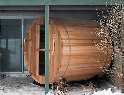 Barrel Sauna, Red Cedar, Electric Heater Included, 6 Feet, Fits 4 (BRT-66-C)