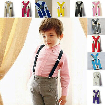 Kids Clip-on Suspender Y-Back Elastic Suspenders Boys Girls Adjustable Braces
