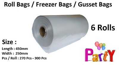 6 Rolls: Produce Bags / Roll Bags / Gusset Bag / Freezer Bags (Clear/Green)