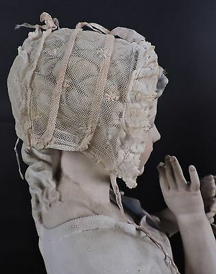 Antique Mid 19Th C Fine Embroidered Net Bonnet With Silk Ribbon Trims