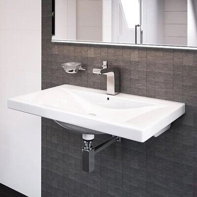 Wall Hung Square Basin ; White 500mm Ceramic Sink ; 1 Central Tap Hole Bathroom