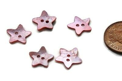 20 x MOTHER OF PEARL 12mm STAR BUTTONS IN PINK