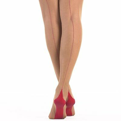 Jonathan Aston Small Size Contrast Seam and Heel Stockings in Champagne/Red