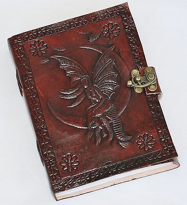 Handmade Fairy & Moon Tooled Leather Blank Journal Diary Notebook Book (567-WL)
