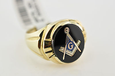 NEW Solid 10K Gold and Black Onyx Masonic Ring Master Mason Freemason Masonry