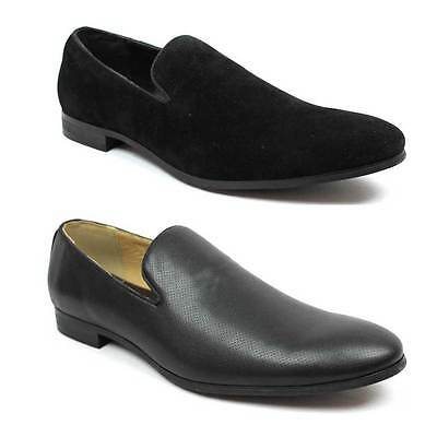 New Men's Black Slip On Dress Loafer Shoes Suede OR Leather Optional By AZAR MAN