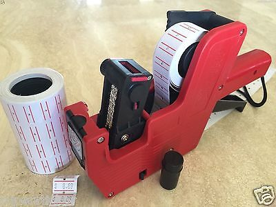 US Seller MX-5500 8 Digits Price Tag Gun + 2000 White w/ Red lines labels +1 Ink