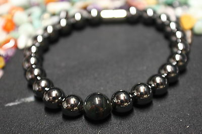 MAGNETIC HEALING HEMATITE/ BLUE TIGERS EYE Round Ball Crystal Bracelet CAPRICORN