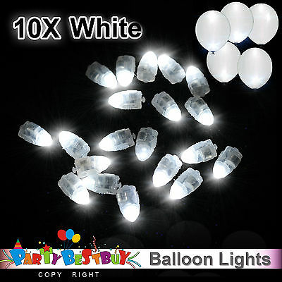 10X LED Balloon Lights White Colour Light Paper Lantern Lamp Glow Wedding Party