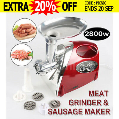2800W Electric Meat Grinder Sausage Maker Filler Commercial Mincer Stuffer Kibbe