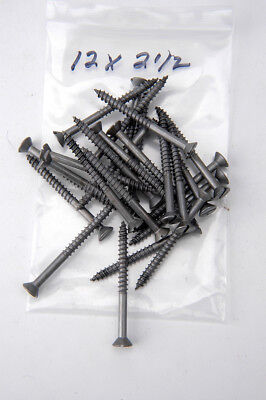 "Wood Screws Flat Head Slotted Plain Steel #12X 2-1/2"" WS12212"