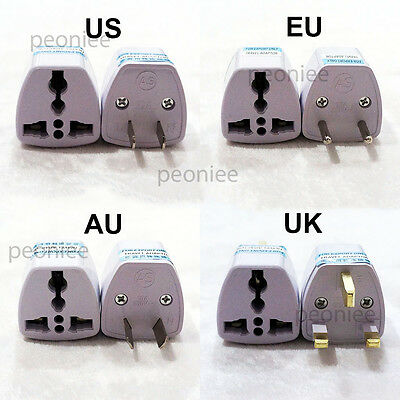 Universal UK EU AU US Power Plug Outlet Converter Travel Charger Adapter 2pin