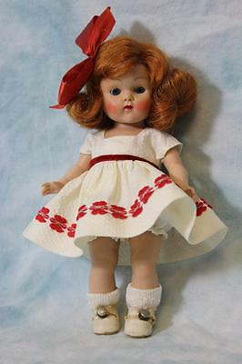 "8"" Red-haired painted Lash Vogue Ginny Doll in white pique dress & Panty 1952"