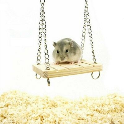 Wooden Hamster Toy Swing Rat Bird Mouse Exercise Cage Hanging Pet Play UK