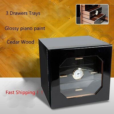 COHIBA Black Glossy Piano Cedar Wood Cigar Cabinet Humidor With 3 Drawers Tray