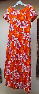 Vintage HAWAIIAN 60s 70s Ui-Makai Long Maxi Luau Dress Plumeria Orange Pink