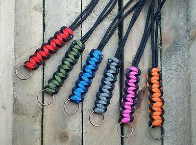 Paracord Neck Lanyard / Keyring for ID, Map & Compass,Keys,Whistle - All Colours