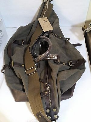 S-ZONE Oversize Canvas Leather Trim Duffel Travel Bag