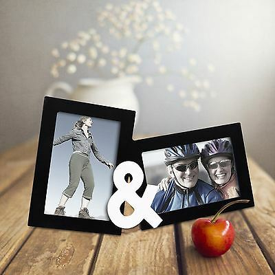 """Adeco 2-Opening Decorative Black Wood """"You & I"""" Wall Collage Picture Photo Frame"""