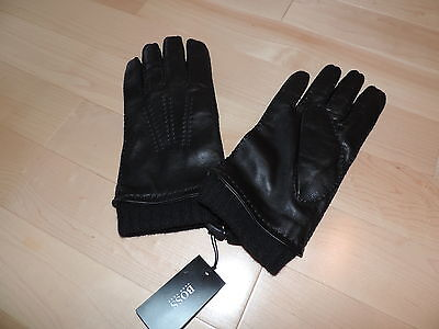 HUGO BOSS Strong Soft Leather Lined Gloves 10 US XL Black Label Cashmere HAILY 1