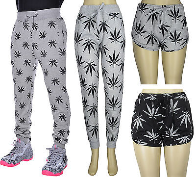 Men Women Weed Marijuana Pot Leaf Smoke Casual Jogging Pants and Track Shorts